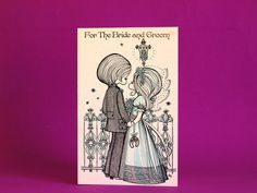 For The Bride and Groom Card with Envelope - Vintage Mid Century Kitsch Cute Design by Joy - Unused by FunkyKoala on Etsy