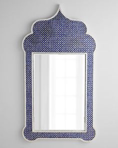 "Horchow | Moroccan-Style Mirror | Die-cut capiz shells are inlaid on wood composite frame; it takes two days to create one frame | handcrafted | protected lacquered finish | 43 lbs | 33"" x 1.25"" x 61"" 