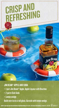 Lay back and relax with a glass of Jim Beam® Apple and club soda for a refreshing summer drink. Jim Beam® Apple, Apple Liqueur infused with Kentucky Straight Bourbon Whiskey, 35% Alc./Vol. ©2017 James B. Beam Distilling Co., Clermont, KY