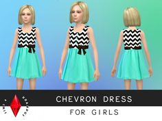 Turquoise and chevron dress at Sims 4 Krampus via Sims 4 Updates