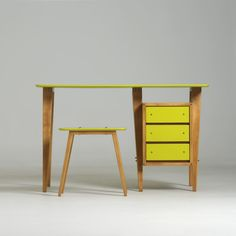 #PADParis 20th century decorative arts.  Desk and its stool, André Sornay, 1955. Alain Marcelpoil Gallery.
