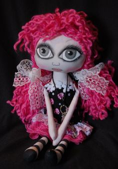 Nicole Cloth Art Rag  Doll ooak big eye by OCRPrimitiveArts, $65.00