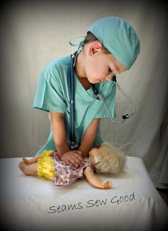 Doctor or Nurse Scrubs Costume for Toddler/Child by SeamsSewGood, $45.00