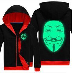 luminous V hoodie movie V for Vendetta fleece sweatshirt plus size