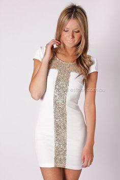 quinton cocktail dress - white at Esther Boutique