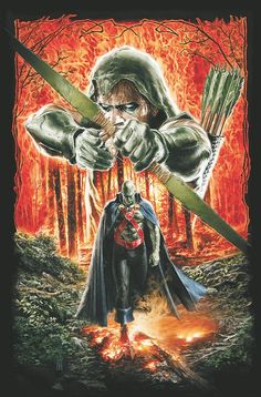 Green Arrow and Martian Manhunter by Mauro Cascioli *