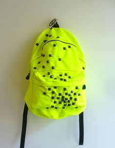 Neon Yellow Studded Backpack by Blim on Etsy.