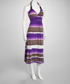 Look what I found on #zulily! Violet Stripe Halter Maxi Dress by Life and Style Fashions #zulilyfinds