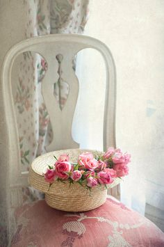 Paris Photograph  -  Le Chapeau, Pink Roses on Chair in Parisian Apartment, French Wall Decor,
