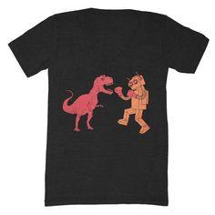 Dinosaur vs Robot - V-neck T-shirt. not quite chic but i waaaant it.