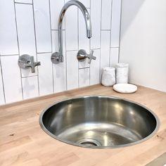 Laundry Sink - Featuring Clark Cellini Sink and Dorf Maxum tapware. Diy Bathroom Decor, Bathroom Renos, Bathroom Layout, White Laundry Rooms, Laundry In Bathroom, Small Laundry Sink, Small Bathroom Colors, Grey Countertops, Laundry Room Design
