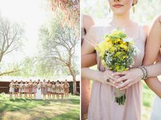 LOVE these various muted bridesmaid dresses!