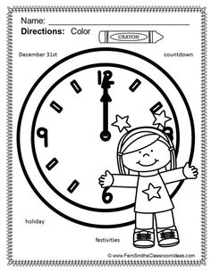 #Free Happy New Year Coloring Page in the FREE Preview Download!  ** 50% OFF for the first two days!** Happy New Year Fun with Seasonal Vocabulary! Color For Fun Printable Coloring Pages! Differentiate Your Class with Some Color For Fun Printable Coloring Pages that Includes Two to Five Seasonal Vocabulary Words Per Page. {14 coloring pages equals less than 15 cents a page.} This resource has two to five seasonal words per page similar to a Richard Scary Book or I-Spy Game. #TPT $Paid