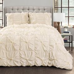 Lush Decor Bella Comforter Set Shabby Chic Style Ruched 3 Piece Bedding With Pillow Shams-full Queen-ivory photo ideas from NEO Home Decor Queen Comforter Sets, Bedding Sets, Kohls Bedding, Aqua Bedding, Shabby Chic Comforter, Floral Comforter, Color Ivory, Console, Guest Bedrooms