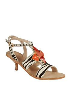 Kitten heel sandals.  The bright stone details are a fun addition.  Wear with CAbi Brushstroke Dress.