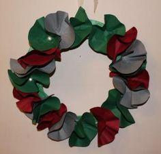 Christmas wreath made from paper and pearl buttons