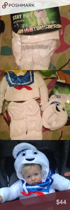 Ghostbusters stay puft marshmallow man costume Adorable stay puft marshmallow man costume worn for two hours on Halloween comes with three separate pieces the hood top and pants with extra padding for extra puffiness!! The top has attached gloves to cover hands although my son did not like them!! Great condition 12-18 months Costumes Halloween