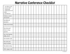 This product can be used by teachers as they conference with students about a personal narrative writing piece. The form allows teachers to know at a quick glance how students are progressing on the use of narrative techniques in their writing. Writing Resources, Kids Writing, Teaching Writing, Writing Activities, Teaching English, Teaching Ideas, Lucy Calkins Writing, Fourth Grade Writing, Writing Conferences