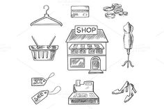 Shopping and retail sketch icons. Clothes Icons. $8.00