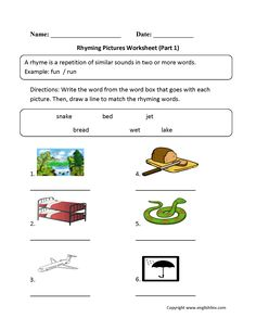 Rhyming Pictures Worksheets Part 1