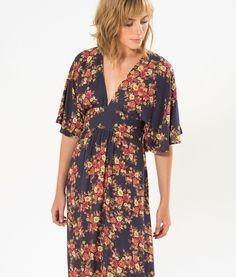 vestido laço costas longo - estampa floral FARM