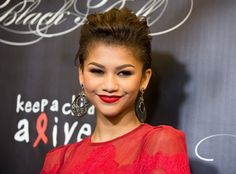 Zendaya wore this cool teased updo at the Keep a Child Alive Black Ball in 2013.   - Seventeen.com