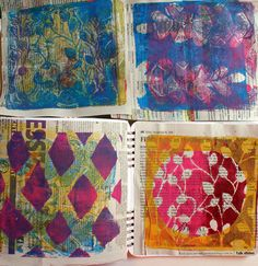 Balzer Designs The newspaper made a really good base for gelli prints, it stayed pretty sturdy and didn't rip or tear as I pulled the prints. I left some places of the prints empty so that the newspaper shows through.
