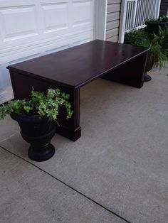 I Loved this table!! $10 from a thrift store- The size and weight were massive!! Over 6 feet long with column type ends- I stained it and sold it to a couple moving into an old old farm house-