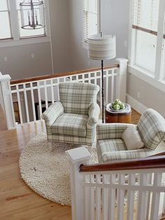 Reading nook at top of stairs; lots of light.