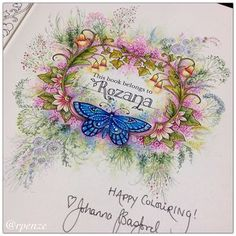 "808 Likes, 53 Comments - Rosana Penze (@rpenze) on Instagram: ""Minha pagina de abertura do novo Livro da Johanna Basford - Ivy and the Inky Butterfly…"""