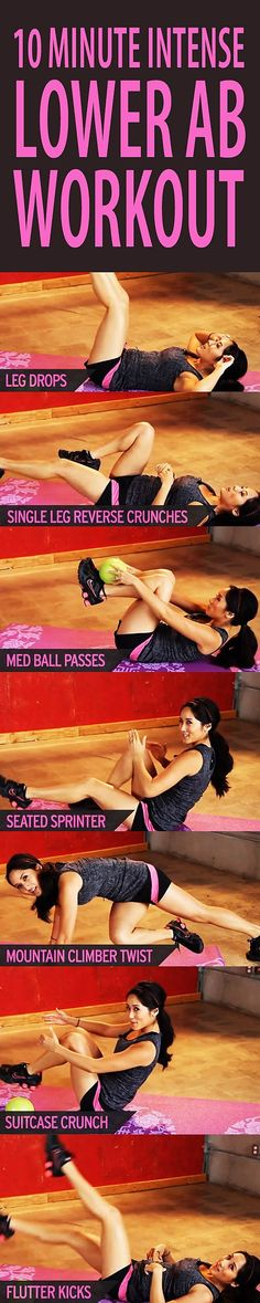 This 10 minute workout video will lead you through a very INTENSE workout routine that will target specifically the lower abs.This 10 minute workout video will lead you through a very INTENSE workout routine that will target specifically the lower abs Lower Ab Workouts, Easy Workouts, At Home Workouts, Butt Workouts, Abs Workout Video, 10 Minute Workout, Workout Routines, Ab Routine, Workout Board