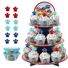 This Wilton PAW Patrol Cupcake Stand has 3 tiers with Marshall, Chase, and the gang featured on the topper. Add up to 24 cupcakes to the dessert buffet at your little one's PAW Patrol birthday party. Torta Paw Patrol, Paw Patrol Cupcakes, Paw Patrol Birthday Cake, Fete Laurent, Paw Patrol Party Supplies, 4th Birthday Parties, 3rd Birthday, Birthday Ideas, Novelty Birthday Cakes