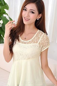 Sexy Lace Short Sleeve Big Hem Two-Piece Blouse For Women Blouses