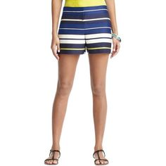 "LOFT Petite Triumph Stripe Jacquard Shorts with 3 1/2"" Inseam ($50) ❤ liked on Polyvore"