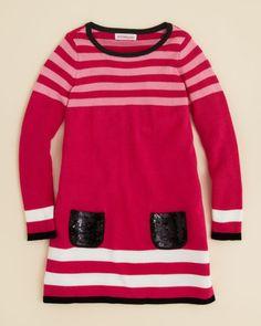 Design History Girls' Sequin Pocket Stripe Sweater Dress - Sizes 2-6X