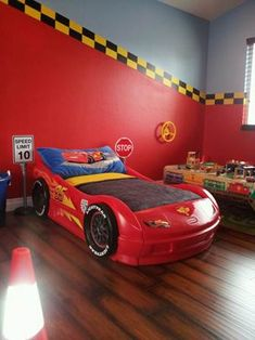 I definitely need to do some sort of car theme for Emmett's new room. The kid is obsessed!