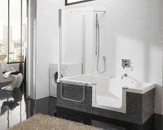 bathroom-mesmerizing-image-of-bathroom-decoration-using-dark-grey-mosaic-tile-bathroom-decor-including-corner-shower-stall-and-bathtub-shower-combination-endearing-image-of-bathroom-design-ideas-using. Walk In Tub Shower, Walk In Tubs, Walk In Bathtub, Small Bathroom With Shower, Modern Bathroom, Glass Bathtub, Bathtub Shelf, Modern Bathtub, Small Bathtub