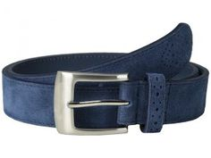 Stacy Adams 32mm Genuine Suede Leather (Blue) Men's Belts
