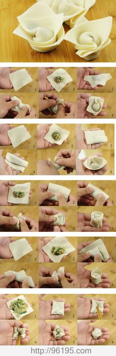 Do You Like Chinese wontons (dumpling soup)? This is a 5 ways how to make wonton. Try it @ home very easy! 🙂 Do You Like Chinese wontons (dumpling soup)? This is a 5 ways how to make wonton. Try it @ home very easy! How To Make Wontons, Decoration Patisserie, Chinese Dumplings, Cuisine Diverse, Wonton Wrappers, Oriental Food, Snacks Für Party, Homemade Pasta, Asian Cooking