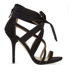 NINE WEST Rustic heeled bow sandals ($185) ❤ liked on Polyvore featuring shoes, sandals, black, nine west sandals, stiletto sandals, wrap sandals, high heel sandals and black shoes