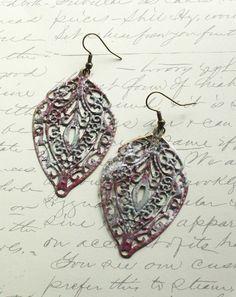 Patina Earrings Patina Jewelry Raspberry Red by apocketofposies