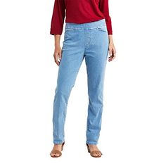 $18.99 - $22.36 Chic Classic Collection Womens Easy-Fit Elastic-Waist Pant 80% Cotton, 19% Polyester, 1% Spandex  Imported  Pull On closure  Machine Wash  Pull-on skinny jean in stretch denim with flat elastic waistband  Back welt pockets  Also available in petite sizes... #womanfashion,#womanfashions,#woman,#fashionhub, #fashionlover, #fashionlife, #fashion,#oufitideas,#outfit Petite Leggings, Carhartt Overalls, Short Person, Type Of Pants, Elastic Waist Pants, Fashion Hub, Classic Collection, Stretch Denim, Skinny Jeans