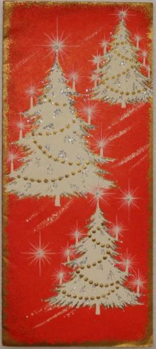 #1137 50s Mid Century White Glittered Trees-Vintage Christmas Greeting Card