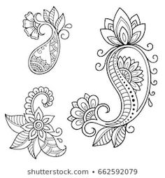 Set of Mehndi flower pattern for Henna drawing and tattoo. Decoration in ethnic oriental, Indian style. Doodle Designs, Doodle Patterns, Henna Patterns, Zentangle Patterns, Motif Paisley, Paisley Art, Paisley Design, Paisley Doodle, Henna Mandala