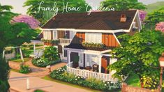 "The Sims 4 Family Home ""Gardenia"" by isegrimsims Sims 4 House Plans, Sims 4 House Building, Base Building, Sims 4 Family, Sims 4 House Design, The Sims 4 Lots, Sims 4 Bedroom, Casas The Sims 4, Sims 4 Build"