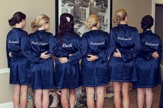 Navy Embroidered Robes for your Bridesmaids. #bridesmaidgift #robes #wedding
