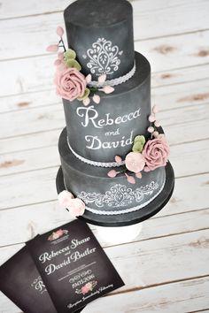 Chalkboard Personalized Wedding Cake