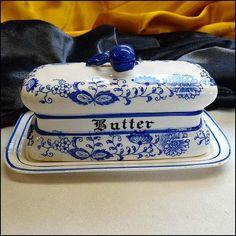 Blue Onion Vintage Butter Dish