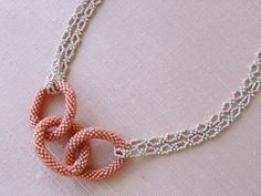 Bead Crochet Necklace Seed Bead Necklace by CharlotteJewelryBox