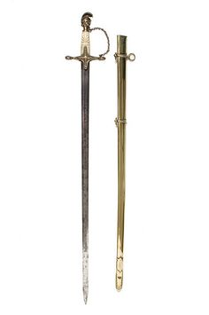 German Artillery officer's sword, c. 1861. Worn by Captain Carsten Nohrden (1827-1861), who served in the Columbia Battery of the German Artillery. Charleston Museum